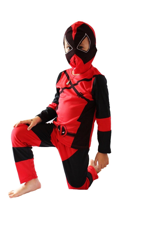 Rojo 3 -7 Años Modelo de Deadpool Modelo Cosplay, disfraces de Halloween para niños Modelo de Deadpool ZG: S-XXL
