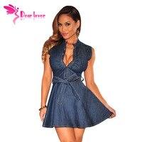 Hot Sale 2015 Verano Mujer V Neck Dark Denim Short Party Women Dresses Sleeveless Vestido Casual