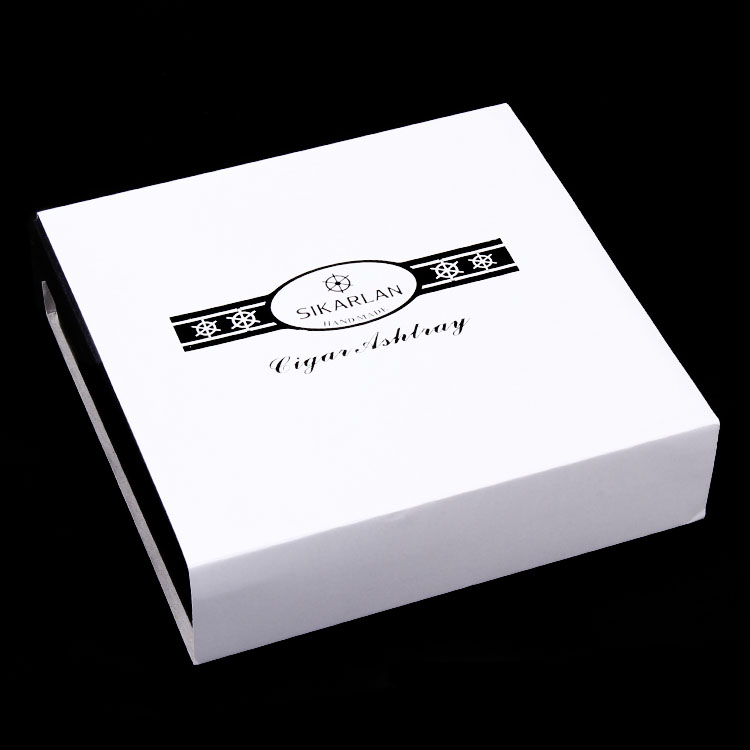 Luxury Design Holder four Cigars Transparent Pattern Classic Style Crystal Cigar Ashtray W/ Gift Box