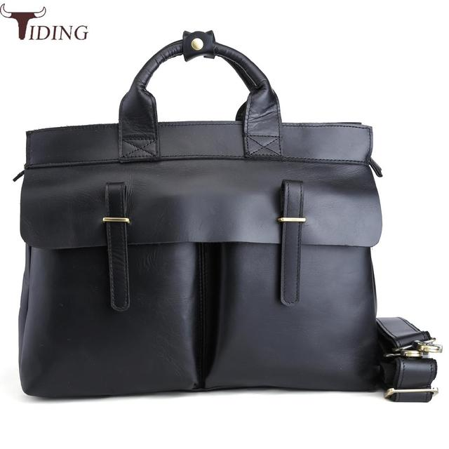 9030f524d074 Tiding Top Italian Cow Leather Briefcase Men Business 14 inch Laptop Bag  Office Luxury Designer portfolios Messenger Bag Handbag