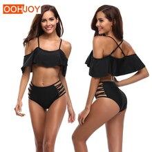 New Lotus Off Shoulder Bikini Women Swimsuit High Waist Bathing Suit S-XL Solid Black Swimwear Girl Adjustable Straps Bikini Set