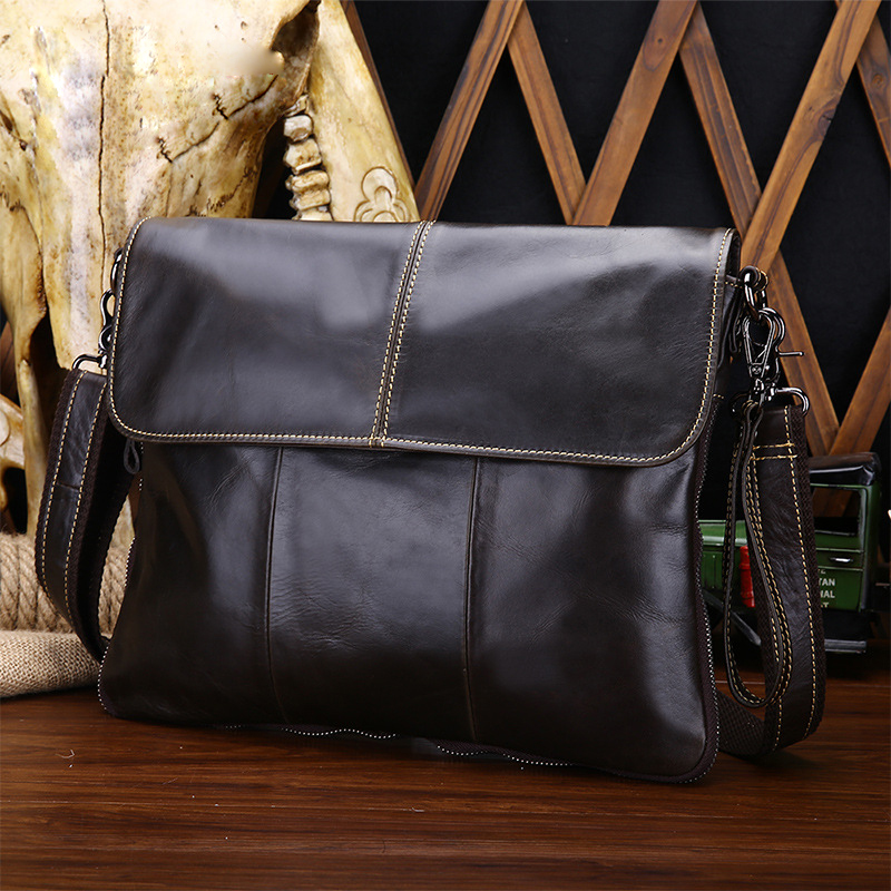 Men Oil Wax Leather Shoulder Bag Vintage Style Casual Messenger Crossbody Bags Male Ultra Thin Tablet Computer Leather Hand Bag vintage simple style genuine leather messenger bag men s hand made shoulder bag casual