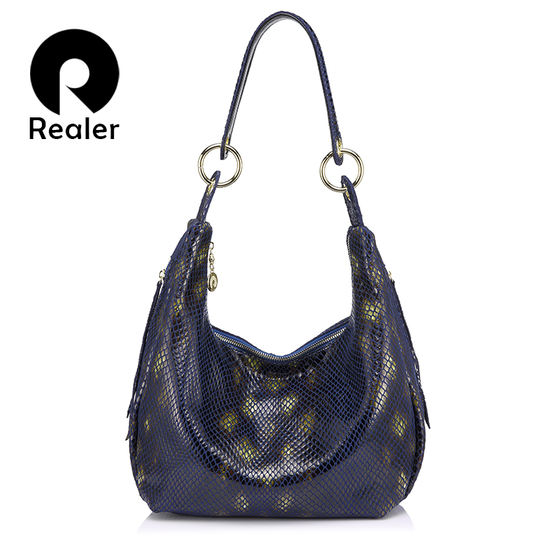 Realer Brand Women Shoulder Bag With Serpentine Prints Women Genuine Leather Handbag Ladies Crossbody Bag Hobos Fashion