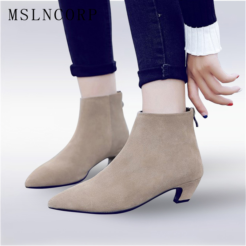 Size 34-43 Spring Autumn Women Nubuck Genuine Leather ankle Boots Ladies Low Heels Fashion pointed toe Martin Boots Casual Shoes women spring autumn thick mid heel genuine leather round toe 2015 new arrival fashion martin ankle boots size 34 40 sxq0902