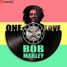Bob Marley Projeto do Registro de Vinil Relógio de Parede Da Arte Relógio de Parede Do Vintage Preto Clássicos da Decoração Duvar Saati