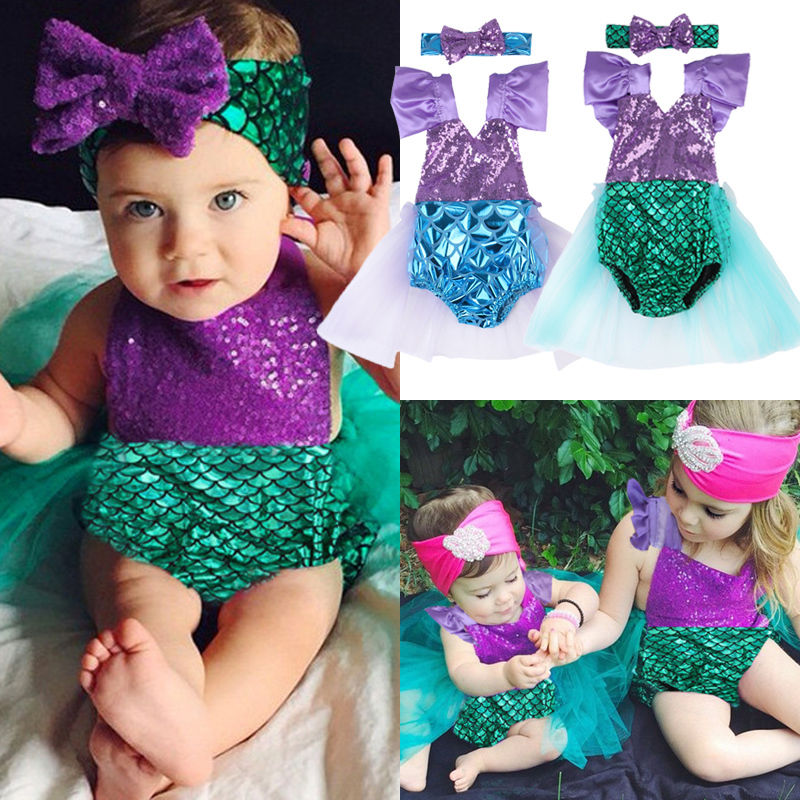 2017 Sequins Mermaid Newborn Baby Girl Summer Tutu Skirted Romper Bodysuit Jumpsuit +Headband 2PCS Outfits Kids Clothing Set minnie newborn baby girl clothes gold ruffle infant bodysuit bloomer headband set winter jumpsuit toddler birthday outfits