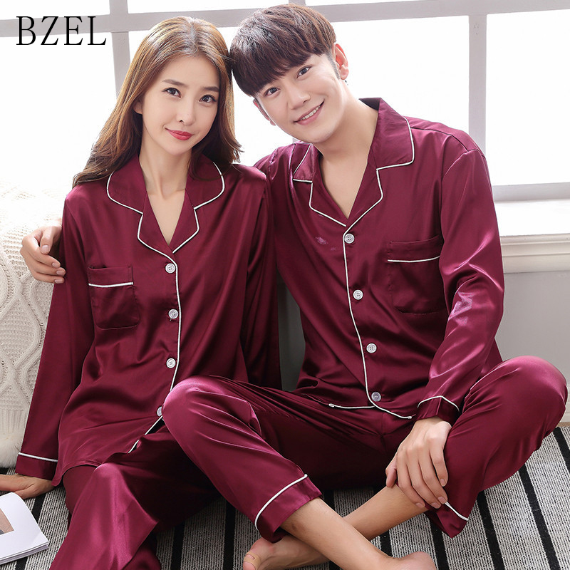 BZEL Silk Satin Pajama Set Couples Long Sleeve Male Sleepwear Women Pajamas Pijama Pyjamas Men's Pajamas Homewear Big Yard M-3XL