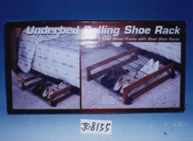 Us 385 Hot Sale Underbed Rolling Shoe Rack Wooden Shoe Rack With Steel Frame Shoe Rack With 4pcs Wheels In Shoe Cabinets From Furniture On