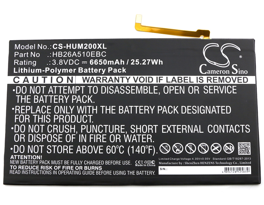 M2-a01l M2 10.0 T2 10.0 Pro Premium Beneficial To The Sperm M2-a01w Cameron Sino 6650mah Battery Hb26a510ebc For Huawei Fdr-a01w Fdr-a03l