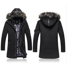 Зимняя куртка для мужчин Парки Мода Капюшоном Хлопка меховой воротник траншеи пальто мужчины Толстовки Случайный Верхней Одежды Ватные Куртки мода 6XL