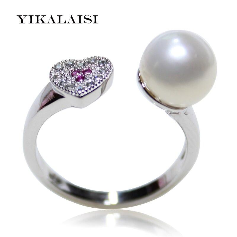 YIKALAISI 2017 नई फैशन 925 स्टर्लिंग सिल्वर पर्ल अंगूठी आभूषण महिलाओं के लिए ओवल मीठे पानी पर्ल रिंग शादी के छल्ले