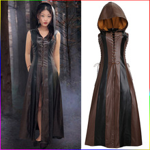 Women Cosplay Costume Sexy Slim Lace Up Leather Medieval Ranger Dress Long Dress Sleeveless Dress Size S-XXL цена