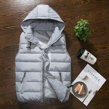 Fashion Men's Vest Winter Men Brand Hooded Vest Male Fashion Cotton-Padded Waistcoat Jacket and Coat Warm Vest Cotton-Padded 3XL