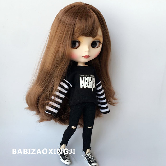 2018 New1/6 Fashion Doll Clothes Stripe T-shirts+jeans Accessories Doll Wear For Azone Ob24 Ob27 Blyth Doll Accessories
