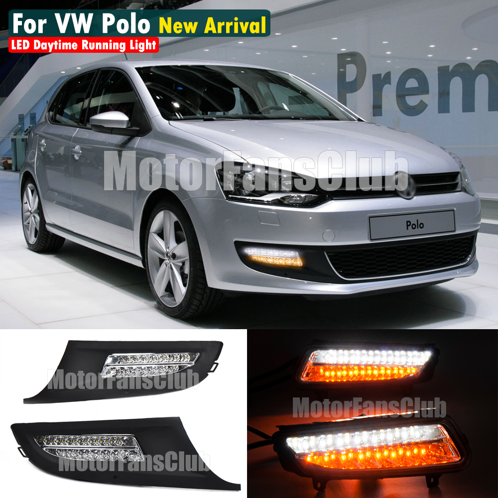 MOTORFANSCLUB New LED Daytime Running Light For Volkswagen VW Polo Fog Lamp Bazel DRL 2010 2011 2012 2013 2014 With Turn Signal
