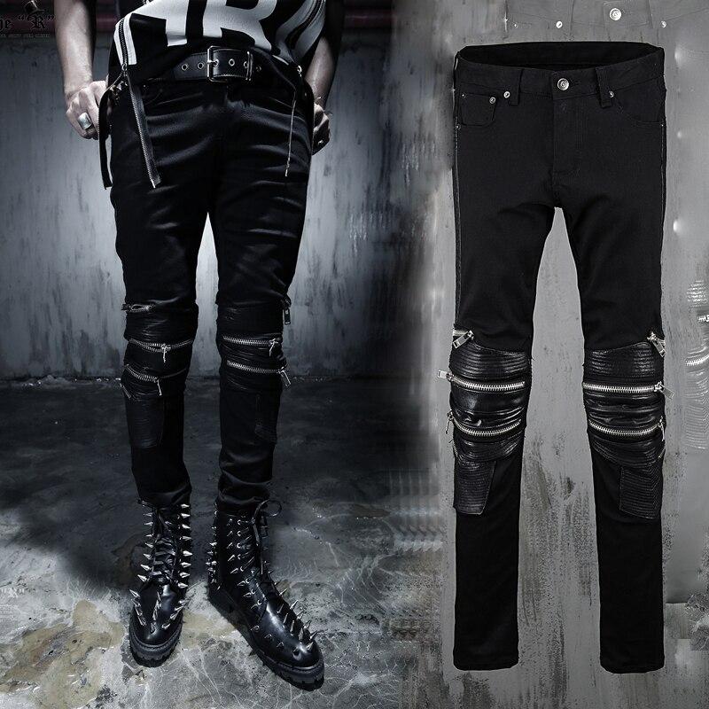2015 New Fashion Jeans Men Leather Patchwork Multi Zipper Punk Style Biker Denim Hip Hop MB194