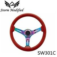 SuTong Puro Universal Volante De Madeira Real Clássico 350mm Carro Vermelho Marrom Mogno Madeira Neo Cromo Falou SW301C|Volantes e cubos de direção|   -