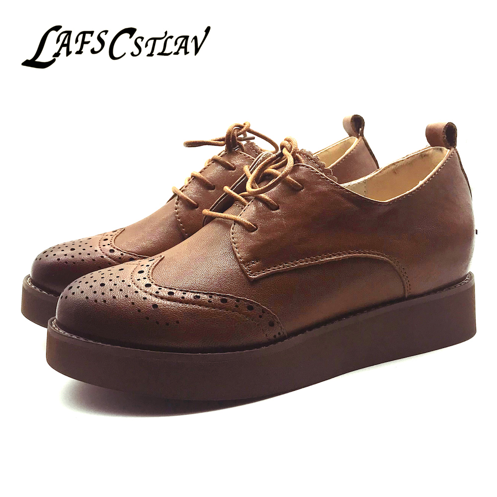 LAFS CSTLAV Genuine Leather Oxfords Flats Shoes Woman Elegant Comfortable Casual Round Toe High Quality Brogue Women Shoes Lady qmn women snake effect leather brogue shoes women round toe platform oxfords shoes woman genuine leather casual platform flats