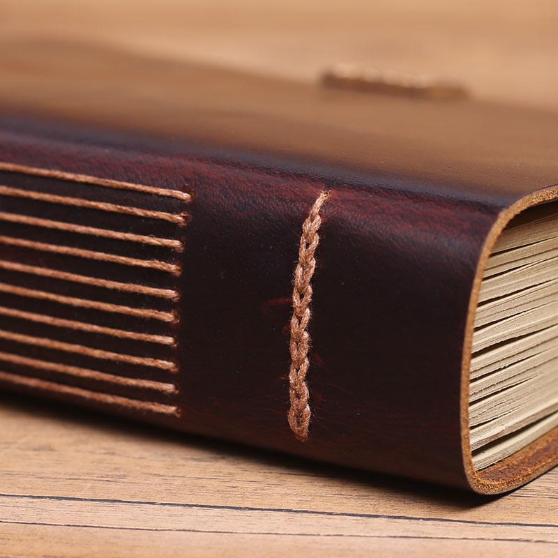 Cuaderno de cuero Vintage hecho a mano, muy grueso diario viajero diario DIY álbum de fotos, pareja regalos novio-in Cuadernos from Suministros de oficina y escuela    2