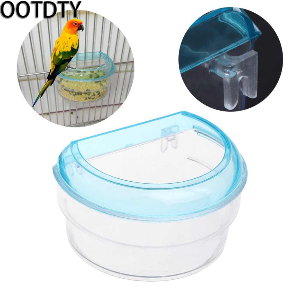 OOTDTY Bird Feeder Acrylic Transparent Semicircle Food Feeding Hanging Parrot Cage Bowl