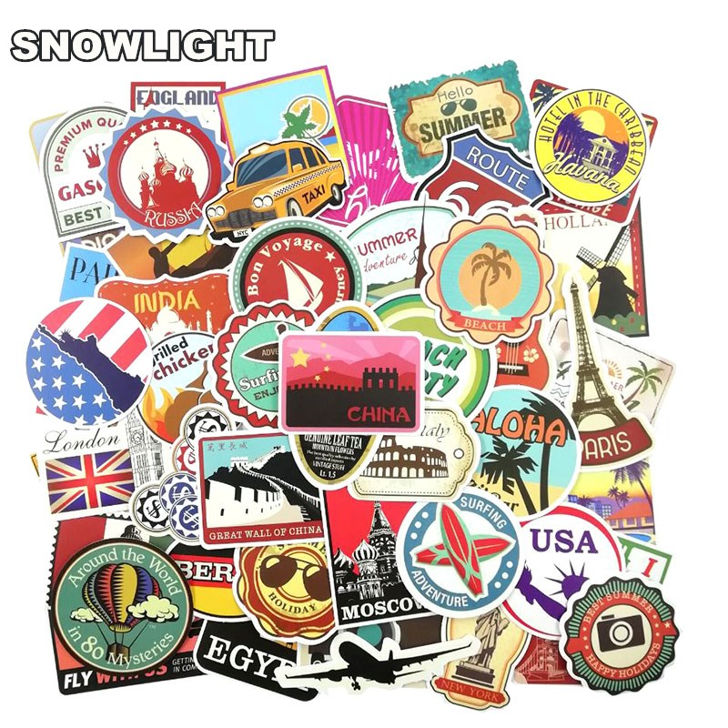 100 PCS Retro Travel Landmark Stickers Waterproof Postage Building Decal Sticker Toys To DIY Suitcase Scrapbook Laptop Guitar