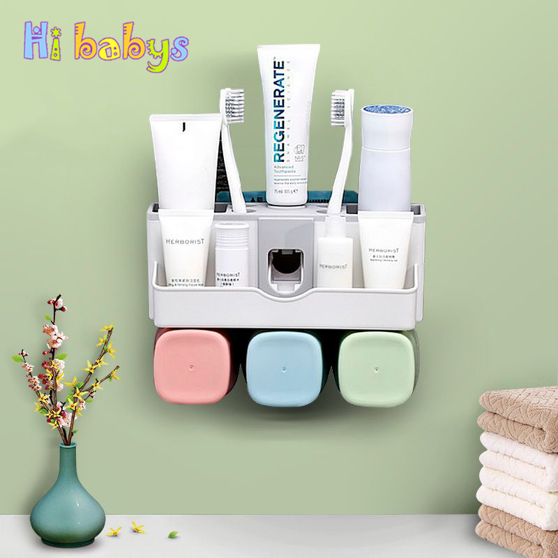 Bathroom Accessories Set Tooth Brush Holder Automatic Toothpaste Dispenser C