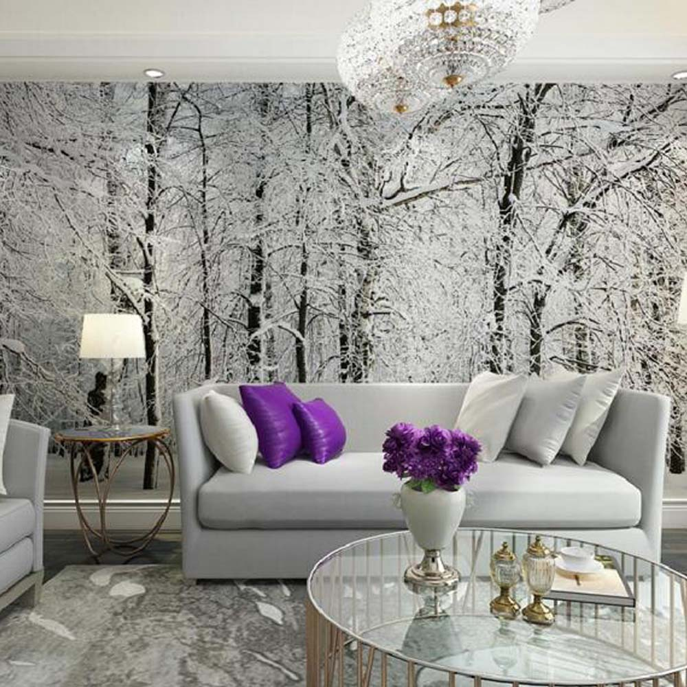 wall mural living tree 3d winter background paper wallpapers snow murals trees branches tv forest birch bedroom plum decor colored