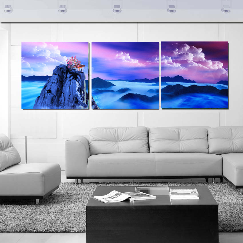 3 panels wall art fantasy mountain landscape painting - Landscape paintings for living room ...