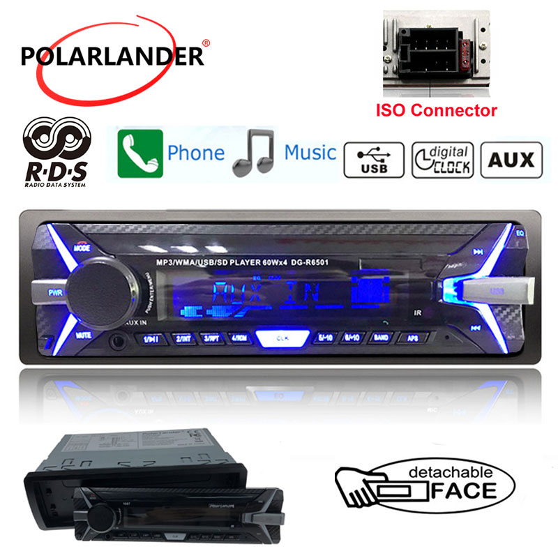 RDS+ Car Stereo Audio Radio Bluetooth Newest FM AM TF/USB 3.5 Aux-In 1 Din 12V Detachable Panel Car MP3 Player In-dash image