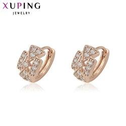 Biżuteria Xuping modne kolczyki znane marki obręcze różowe złoto-kolczyki w kolorze dla kobiet boże narodzenie prezenty 29088