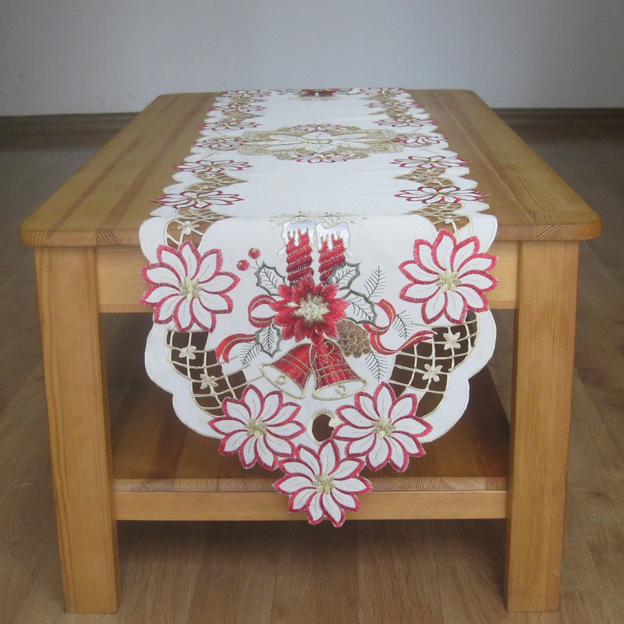 Hot For 2016 Christmas Embroidery Table Runners Satin