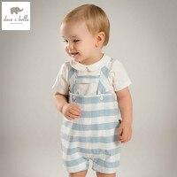 DB4845 dave bella yaz bebek erkek giyim seti beyaz t shirt mavi romper setleri çocuk setleri bebek giysileri çocuk bebek kostümler setleri