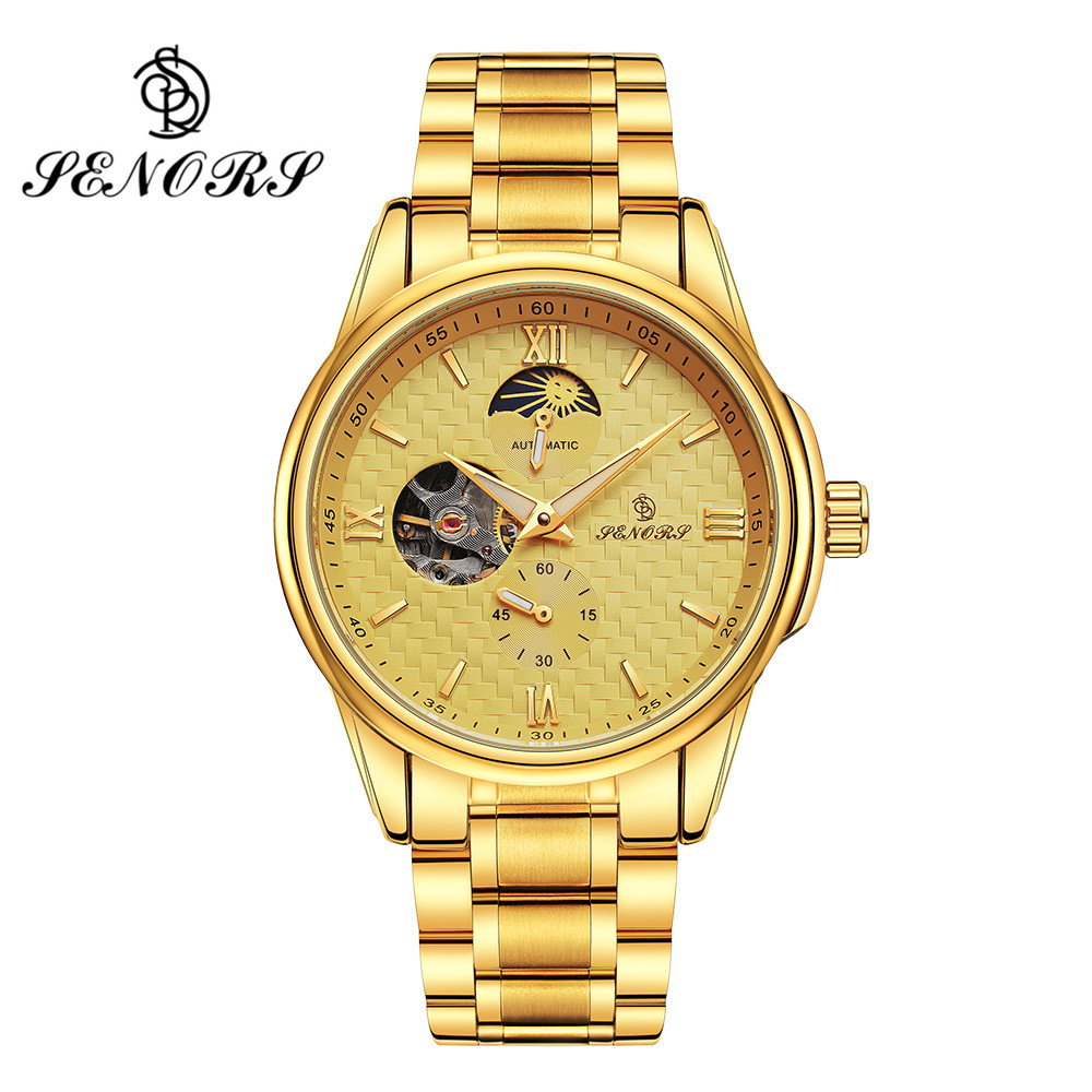 SENORS Mechanical Watch For Men Skeleton & Moon Phases Dial Gold Color Stainless Steel Band Automatic Male Wristwatch SN018 2017 black rose gold winner men watch cool mechanical automatic wristwatch stainless steel band male clock skeleton roman dial