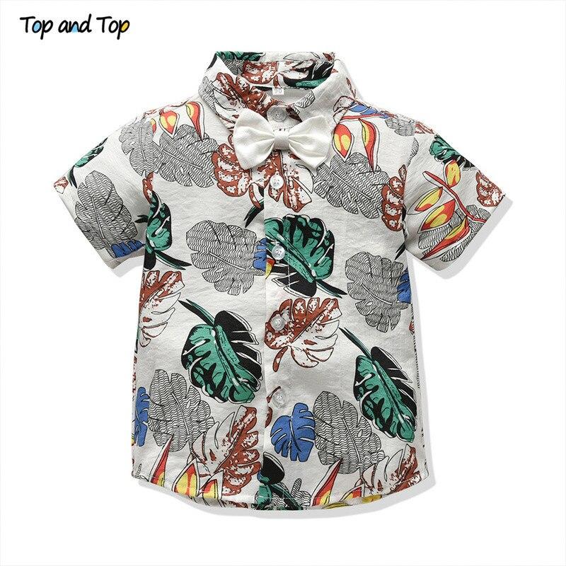 02bf1215e Top and Top Hawaiian Beach Style Fashion Summer Children Boys Shirt Short  Sleeve Gentleman Tees Casual