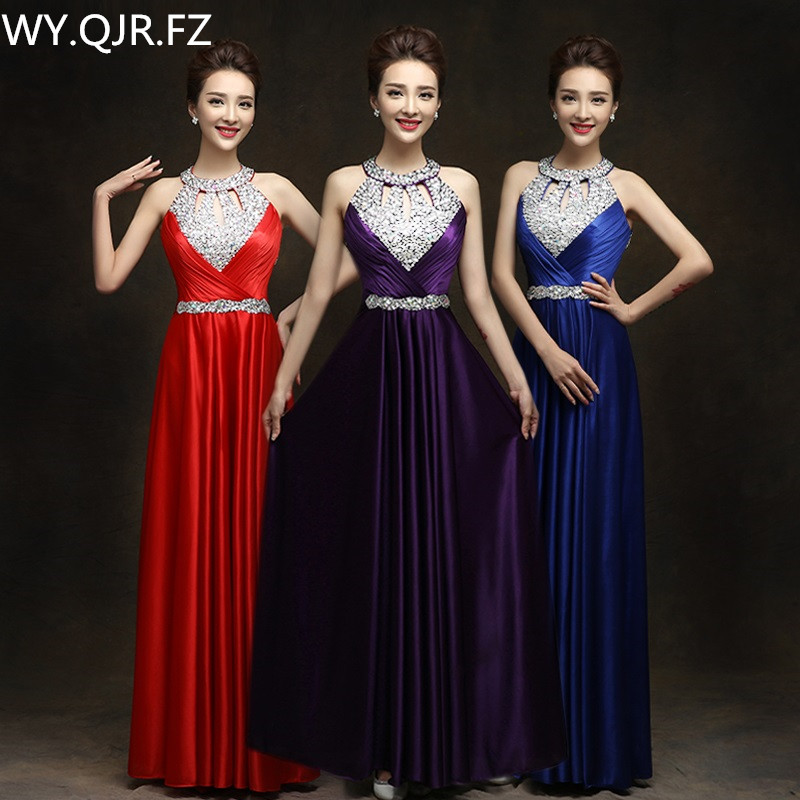 QLY150Z#Diamante purple Red Long Halter Lace up   Bridesmaid     Dresses   Bridal gown Wedding Party Prom   Dress   2019 Wholesale Custom