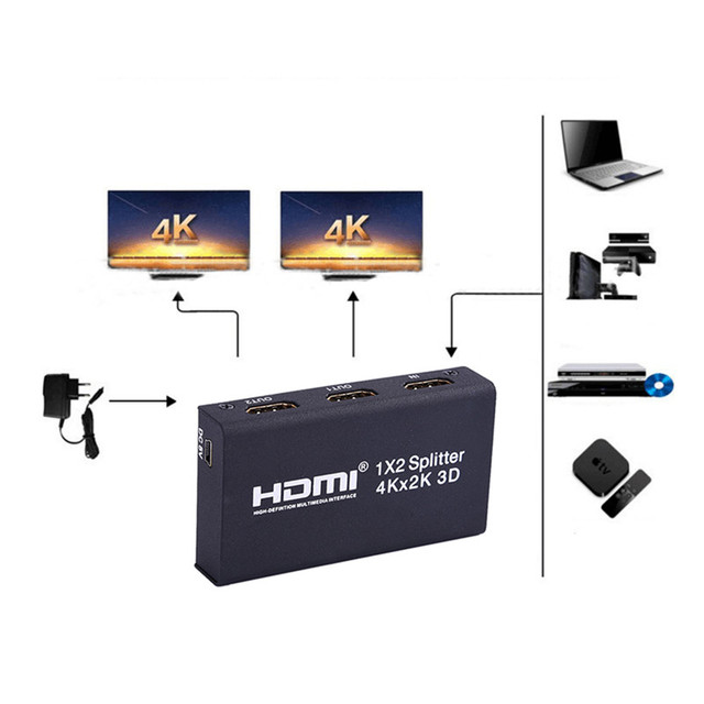 HDMI 1x2 10.2 Гбит Splitter Настоящее 4 К x 2 К 3D HDMI splitter Switcher 1 в 2 Из адаптер Конвертера Для HDTV 4 К 30fs 24 бит