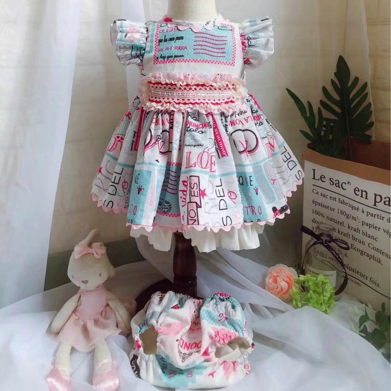 2019 été espagnol robe à volants fille robes de mariée et Bloomer rétro lettre enfants fête d'anniversaire princesse filles cadeau