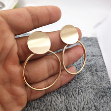 Minimalist Metallic Geometric Earrings Exaggerated Round Pendant Large for Women Party Jewelry W618-W619
