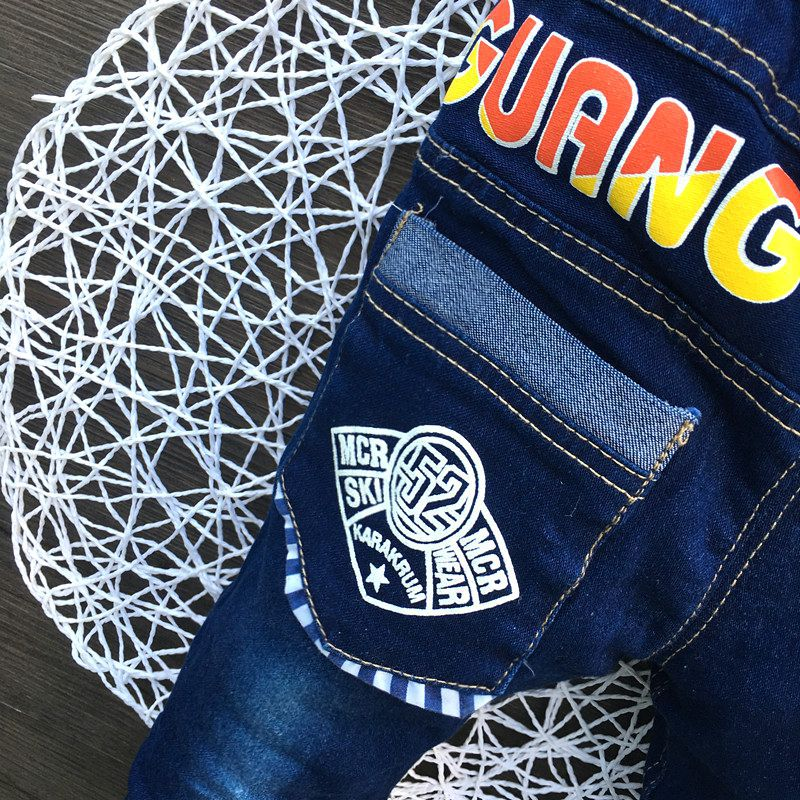 2017 New Style Kids Boy Jeans Elastic Waist Straight Trousers Baby Kids Fashion Denim Pant Casual Jeans Spring Autumn Hot Trends