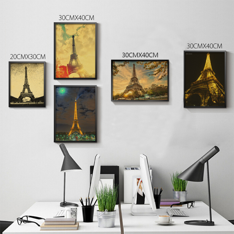 Classic Kraft Paper Posters Paris Tower Drawings B Style Nostalgic Poster Vintage 51x35.5cm