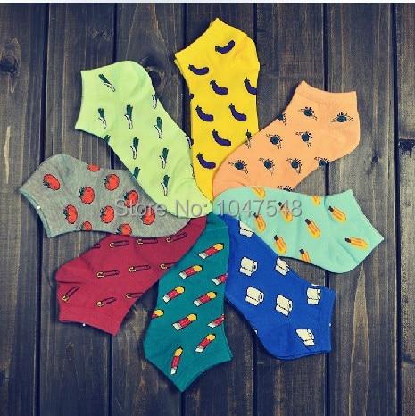 Spring summer fashion casual women socks cartoon Harajuku style fruit vegetable print socks girl Low cut socks slipper socks