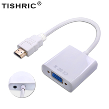 TISHRIC HDMI to VGA Audio Cable Adapter 1080P Male to Female Digital to Analog Video Converter HDMI2VGA for PC Laptop Projector
