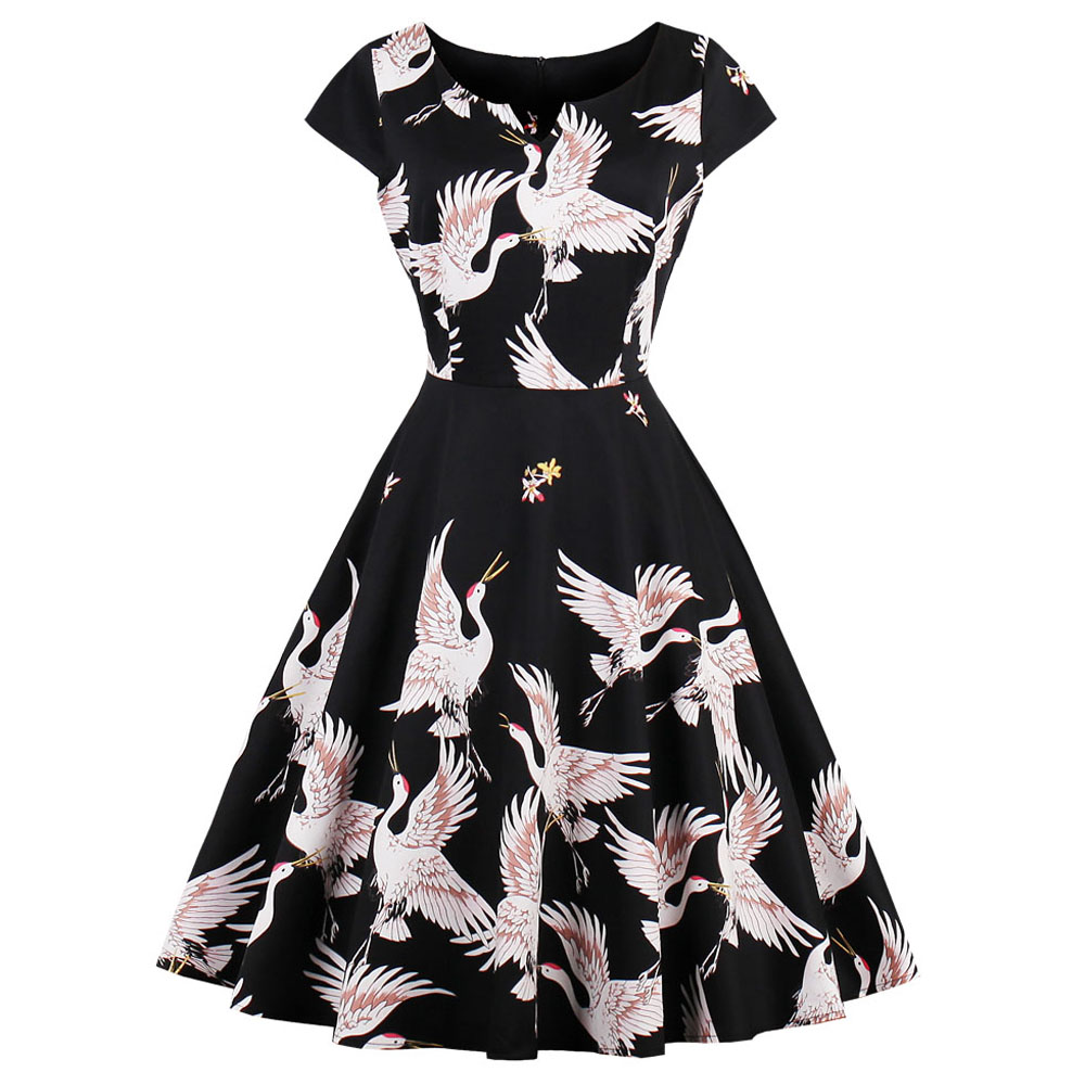10550fbfca Kenancy Plus Size Summer Cotton Women 60s Vintage Dress Cranes Bird Animal  Print Cap Sleeves Swing Party Feminino Vestidos Dress