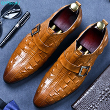 QYFCIOUFU Luxury Genuine Leather Crocodile Pattern Men Oxford Shoes Pointed Toe Dress With Buckle Male Wedding