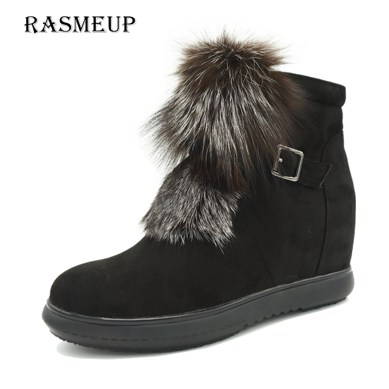 RASMEUP Women Fashion Fox Fur Height Increasing Ankle Boots Fashoin Woman Winter Zip Buckle Women's Platform Short Snow Shoes