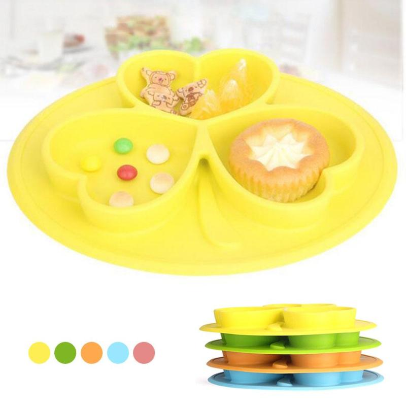 1Pc Food Grade Silicone Kids Plate Clover Children