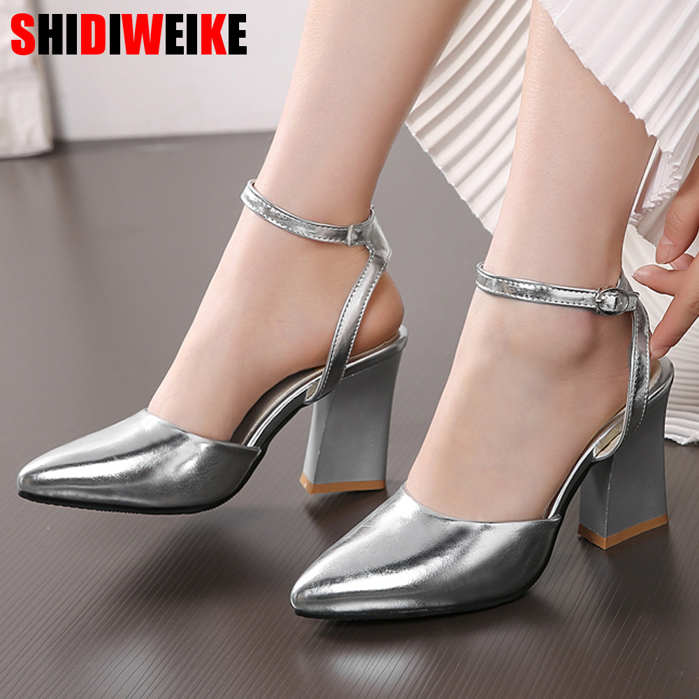 2019 New Women Pumps Thick Heels Ladies Party Wedding Shoes Gold Silver Shoes Summer Buckle Ankle StrapFootwear Size 34-43 F532