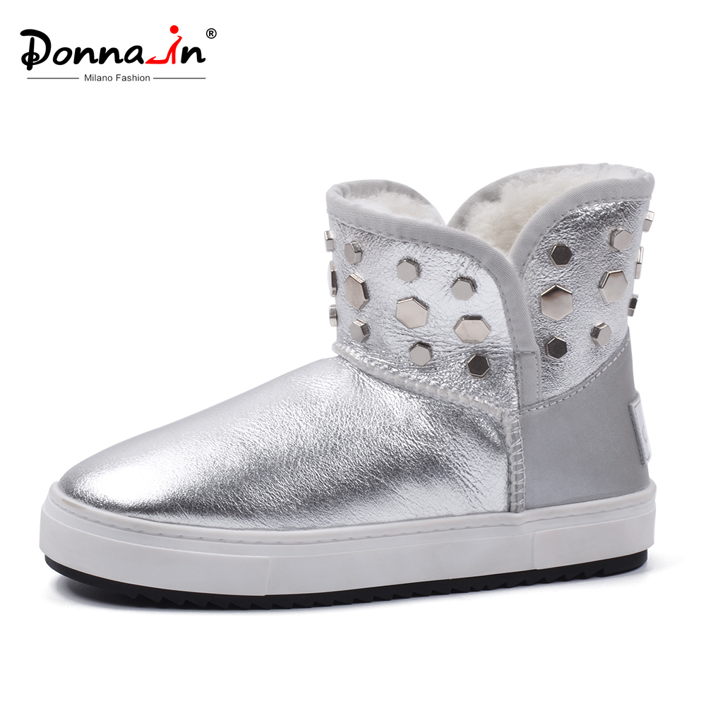 Donna-in Warm Winter Snow Boots Women Australia Genuine Leather Natural Fur With Platform for Cold Winter Fashion Women Shoes fashion nubuck leather haft boots women winter shoes warm female winter boots australia snow boots ladies shoes platform