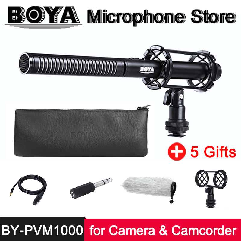 BOYA BY PVM1000 Professional Condenser Shotgun Microphone for Canon Nikon Sony Panasonic Camera Camcorder Video Recording Mic