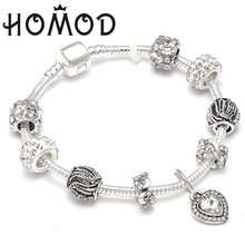 HOMOD Antique Silver Brand Charm Bracelet & Bangle with Clear Love Crystal Pendant Women Wedding Mothers Day Gift